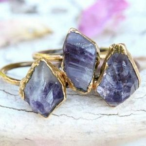 Sized Genuine Raw Amethyst Ring
